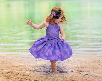 Little Girl Dress, Purple Dress, Halter Dress, Summer Dress, Mermaid, Party Dress, Baby Girl Dress, Toddler Dress, SIZES 3/6m to 9