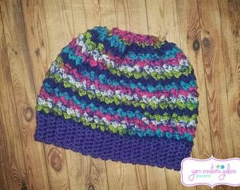Crochet Messy Bun Hat #3