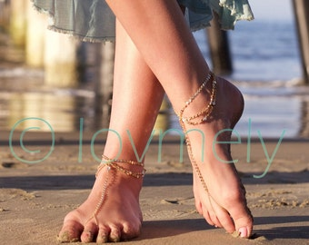 Saved for Suarez wedding LOVMELY GOLD draped Barefoot sandal /anklet- gold chain foot anklet / Bohemian foot chain/ boho / body jewelry / fo