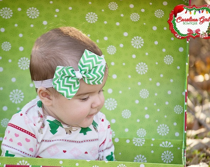 Green Chevron Bow Band - Bow on an Elastic Headband Baby Infant Toddler - Girls Hair Bows