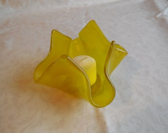 Yellow Swirl Candle Holder