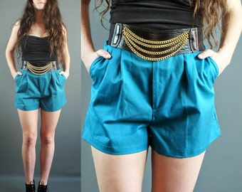 Vintage 80's Green Short Shorts Pleated High Waist  S-M
