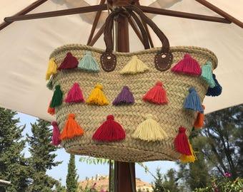 Natural straw basket bag with tassels