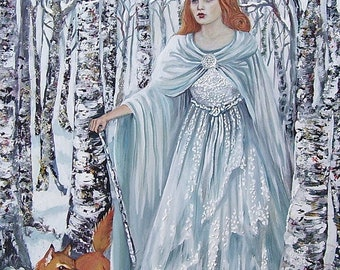 Birch Witch 11x14 Fine Art Print Pagan Mythology Bohemian Winter Goddess Art