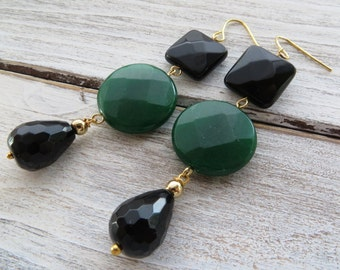 Green emerald earrings, jade earrings, black onyx earrings, dangle earrings, gemstone jewelry, italian jewelry, contemporary jewelry, bijoux