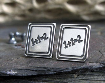 Chalkboard Teacher stud earrings.  Little sterling silver elementary school posts. Unique gift for women. Math teacher jewelry.