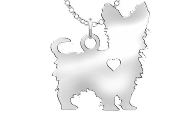 Yorkie pendant etsy yorkie poo necklace solid sterling silver yorkie poo silhouette charm personalized dog jewelry aloadofball Choice Image