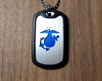 USMC Necklace, Marine Corps Dog Tag, Cut Dog Tag, USMC Jewelry, Marines Pendant