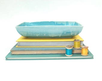 Calart Rhode Island Midcentury Rectangular Dish, MidCentury Pottery, Blue Drip Glaze Pottery