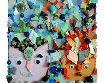 """Décoration couleurs : """"La coiffe de Toby"""", artisanat techniques mixtes, collage mosaïque d'art, tableau peinture, déco, pièce unique"""