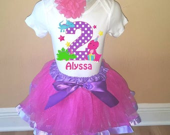 Girls Pink Purple Dinosaur Birthday Personalized Shirt Tutu Headband Set - ANY Age