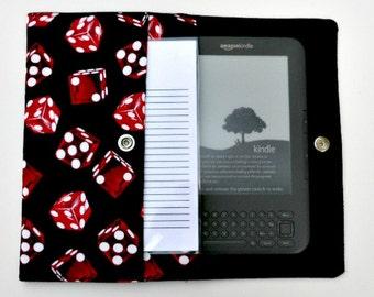 iPad Mini, Kindle, Nook, Kobo, Sony Reader, Samsung Galaxy, Small eReader Padded Case (READY TO SHIP) - Dice