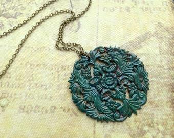 Boho Necklace, Bohemian Necklace, Large Pendant, Layering Necklace, Emerald Green, Floral Pendant, Bold, Nature Inspired, Boho Jewelry