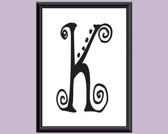 Typography Digital Print Monogram Initial Wall Art SpaGirl Letter K
