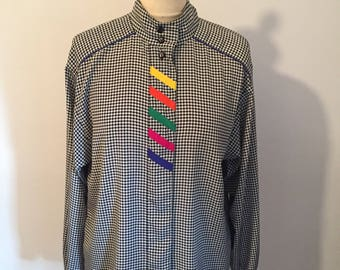 Dogtooth vintage 1980s blouse with colour flashes