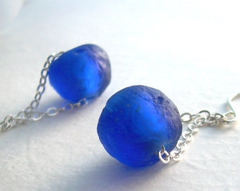 Recycled Glass Earrings, Cobalt Blue Earrings, Environmental Jewelry, Dangle Chain Earrings