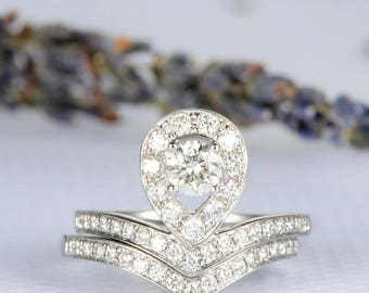 Diamond Engagement Ring Pear Shaped Wedding Chevron Ring Bridal Set Pear Cut Halo Diamond Wedding Band Anniversary Promise Eternity V Shaped