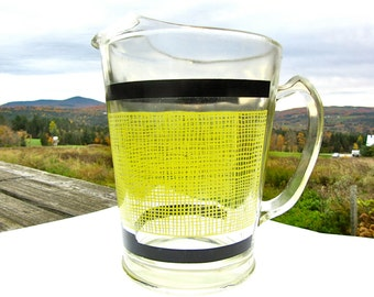 40s Vintage Glass Pitcher - Yellow and Black Design - Handle - Kitchen