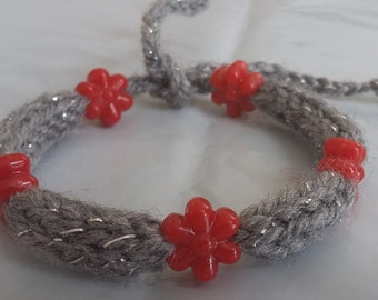 Grey Handmade Knitted Bracelet With Red flower beads