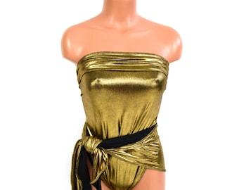 Swimsuit Metallic Gold on Black Bathing Suit Medium One Wrap Gold Body Suit Unique Cruise Wear Swimwear Women Teens Maternity