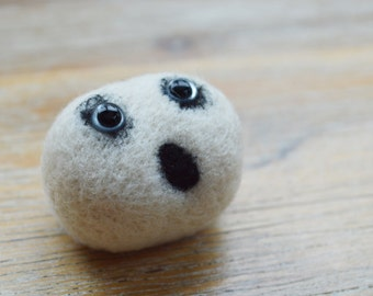 Felt Zombie Ghost Brooch - Made to Order Needle Felted White Zombie Pheeple Jewellery Badge