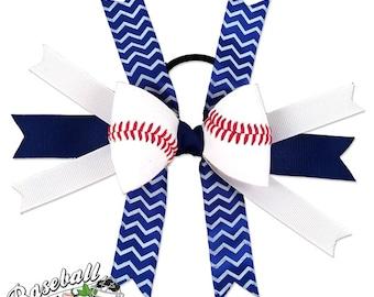Baseball Hair Bow - Blue White Chevrons