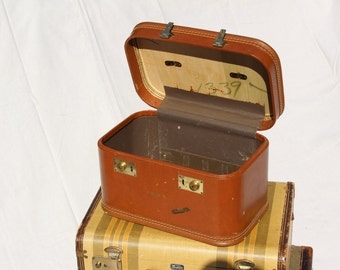 Brown Train Case Luggage Travel Joy suitcase luggage Mid Century Cosmetic train  case