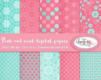 50%OFF Digital paper, pink and mint digital paper, vintage digital paper, textured digital paper, Valentine scrapbook paper, P135