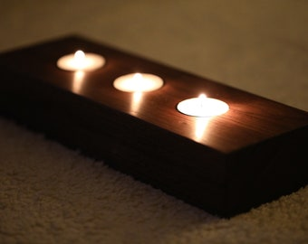 Wooden Tea Light / Candle Holder American Black Walnut