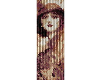 Vintage Lady 2 Peyote Bead Pattern, Bracelet Cuff, Bookmark, Seed Beading Pattern Miyuki Delica Size 11 Beads - PDF Instant Download
