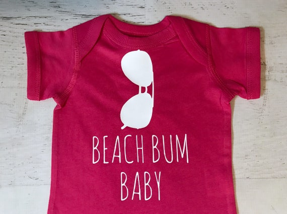 Aviator Beach Bum Baby Black Bodysuit printed in White