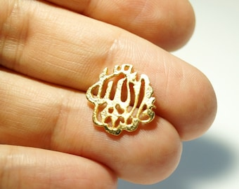5 pcs- Matte Gold Plated MASALLAH swt Connector, Charm-15x13-1-(006-017GP)