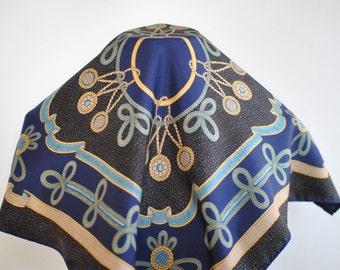 Vintage PRINTED SILK SCARF , small silk scarf....(116)