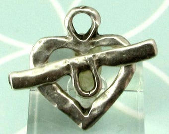 Greek Hammered Heart Toggle Clasp, Antique Silver, M544