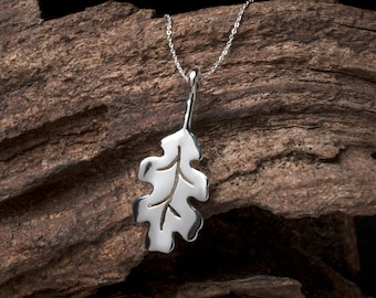 Sterling Silver Oak Leaf Necklace, Silver Oak Leaf, Oak Leaf, Oak Leaf Pendant, Oak Leaf Necklace, Silver Leaf, Oak Leaf Jewellery