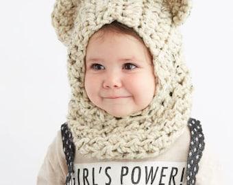 Baby Bear Hood in Oatmeal