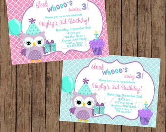 Owl Birthday Invitation - Owl Party Invitation - Owl Birthday Party - Owl Party Invitation - Owl Birthday - Owl Party - Printable