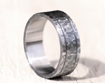 Mens Wedding Band, Titanium Ring for Men, Stainless Steel Band, Rustic Mens Ring