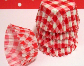 Mini Red Gingham Baking Cups- Candy Liners- Choose 50 or 100