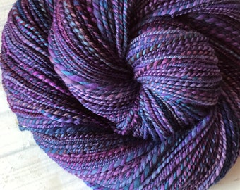 Handspun yarn, purple, pink, navy, turquoise, blue and green tones, 100% merino wool, malabrigo wool, DK sport weight,