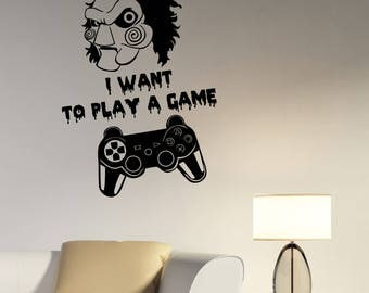 Video Game Wall Decal Gamepad Joystick Vinyl Sticker Jigsaw Quote Art Saw Movie Horror Decorations for Home Bedroom Room Gaming Decor gm4