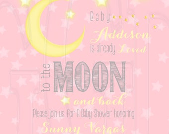 Moon Stars invite, loved to the moon invite, Stars baby shower, moon and stars theme, moon baby shower, moon stars baby shower -Digital File