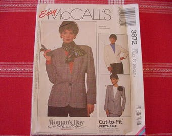 Vintage, UNCUT 1980s McCalls Pattern 3872, Misses' Unlined Jacket in 2 Lengths, Variations, Size 10-14