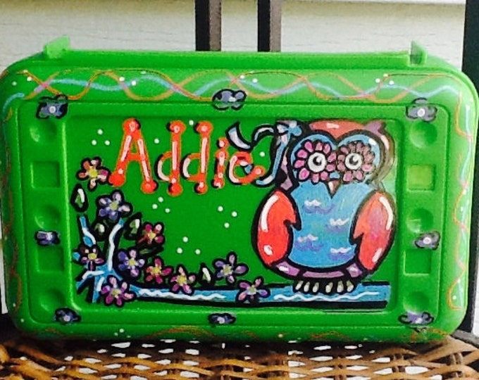 Owl box,  flower pencil, art box, owl pencil box, owl supply box, school pencil box, school art box, owl art box