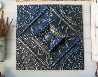 """Architectural salvage wall decor, 24"""" Antique ceiling tin tile, Tin 10th anniversary gift, Black wall decor, French country farmhouse decor"""
