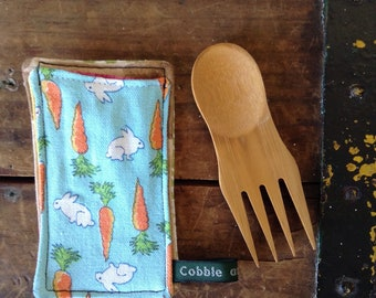 bamboo spork and case, zero waste lunch, bring your own, eco friendly lunch,  bamboo utensils