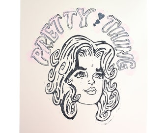 Pretty Thing Lino Print, Retro Girl Linocut Print, Pretty Girl Print, Print with Pink Love Hearts, Handmade Lino Print, Large Linocut Print