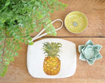 Pineapple Canvas Zip Bag, Makeup Bag, Coin Purse, Small Accessory Pouch, Stocking Filler, Pineapple Gift