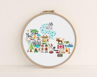 Canada Cross stitch pattern / Printable PDF Pattern / Map cross stitch / Modern cross stitch / Canada Embroidery Pattern / Icon Cross Stitch