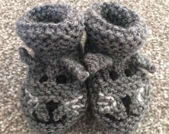 Hand Knit Cat Booties - up to 3months